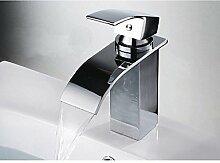 SAEJJ-Bad Armatur Wasserfall Bad Armatur Thermostatische verbreitete Keramik Ventil einzigen Griff ein Loch forChrome Waschbecken Wasserhahn Bad Mischbatterie