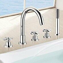 SAEJJ-Badewanne Armatur - Zeitgenössische - Sidespray/Handbrause inklusive - Messing (verchromt)