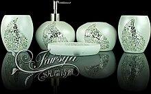 SAEJJ-Badezimmer Ideen Stil passt Harz runden Glas mit fünf Stück Abdeckung Badezimmer Zubehör-se