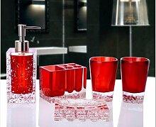 SAEJJ-Badezimmer-Suite-Set aus fünf europäischen kreativen Kombination mit Tablett minimalistisches Bad Toilettenartikel Harz Handwerk 1 Badezimmer Zubehör-se
