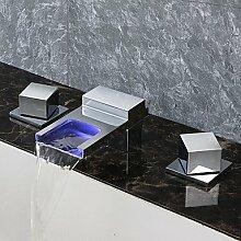 SAEJJ-Deck montiert Wasserfall Bad Armatur thermostatische Regendusche mit Messing Ventil zwei Griffen drei Bohrungen für Chrom Waschbecken Schiff Waschbecken Wasserhahn