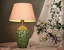 SAEJJ-Einfachen chinesischen Stil Wohnzimmer Dekoration Tischleuchte, warme grüne Keramik Retro-Ideen Nachttischlampe Schlafzimmer