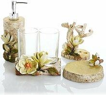 SAEJJ-Europäische Harz Ware Magnolie Blüten fünf Stück Badezimmer Suite Badezimmer Badezimmerdekoration Badezimmer Zubehör-se