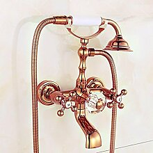 SAEJJ-Europäische Vintage Messing Schwenkbar Dusche Set Dusche Wasserhahn , 3 duschsysteme