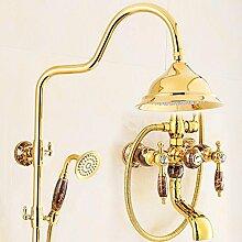 SAEJJ-Europäischen Kupfer Luxus Set Jade Golden Shower Dusche Wasserhahn , 6 duschsysteme