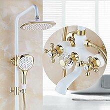 SAEJJ-Europäischen Kupfer Rösten Weißen Golden Shower Set Dusche Wasserhahn duschsysteme