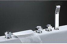 SAEJJ-Messing Waterfall Tub Armatur mit Handbrause (verchromt)