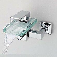 SAEJJ-Moderne Badewanne und Dusche Wasserfall mit Messingventil einzigen Griff zwei Bohrungen für Chrom Wasserhahn, Dusche/Badewanne Armatur