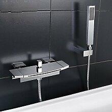 SAEJJ-Moderne Badewanne und Dusche Wasserfall verbreitet mit Keramik Ventil zwei Griffen zwei Bohrungen für Chrom, Badewanne Armatur