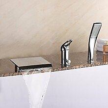 SAEJJ-Moderne est Design römischen Whirlpool Wasserfall/Verbreitet/Handbrause mit Keramik Ventil einzigen Griff drei Bohrungen für Badewanne Armatur chrom enthalten
