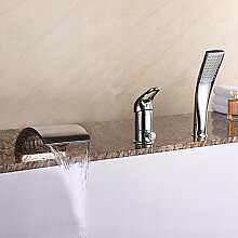 SAEJJ-Moderne römische Whirlpool Wasserfall/Verbreitet/Handbrause mit Keramik Ventil einzigen Griff drei Bohrungen für Chrom, Badewanne Armatur enthalten