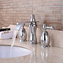 SAEJJ-Moderne verbreitete Wasserfall withBrass Ventil Drei Griffe drei Bohrungen forChrome, Badezimmer Waschbecken Wasserhahn