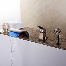 SAEJJ-Spezielle Wanne LED/Wasserfall/Handbrause mit Keramik Ventil 1-Griff 3-Löcher für ORB Badewanne Armatur enthalten