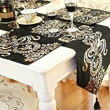 SAEJJ-Tischläufer Bronzing Stoff Tuch Tabelle, Tabelle Tuch Serviette Tisch Läufer Tisch decken 32 * 210cm,Schwarz Tischdecke