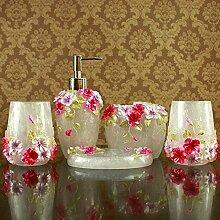 SAEJJ-Weiße Badezimmer-Ideen der Europäischen Romantik Luxus Anzüge Kunstharz Manor mit fünf Stück Abdeckung Badezimmer Zubehör-se