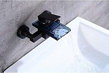 SAEJJ-Zeitgenössische antike Centerset Wasserfall mit Keramik Ventil einzigen Griff zwei Bohrungen für Öl- rieb Bronze, Badewanne Armatur