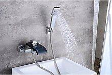 SAEJJ-Zeitgenössische Centerset Wasserfall mit Keramik Ventil einzigen Griff zwei Bohrungen für Chrom, Badewanne Armatur