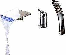SAEJJ-Zeitgenössischen römischen Whirlpool Wasserfall/Handbrause mit Keramik Ventil einzigen Griff drei Bohrungen für Chrom, Badewanne Armatur enthalten