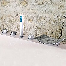 SAEJJ-Zeitgenössischen römischen Whirlpool Wasserfall/Handbrause mit Keramik Ventil Drei Griffe fünf Bohrungen für Chrom, Badewanne Armatur enthalten
