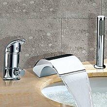 SAEJJ-Zeitgenössischen römischen Whirlpool Wasserfall/Verbreitet mit Keramik Ventil zwei Griffen drei Bohrungen für Chrom, Badewanne Armatur