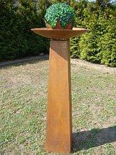 Säule mit Schale Rost, aus Metall, !!Höhe kpl. ca 108cm!!, Rostsäule Gartendeko Edelrost Säule Deko !!! 2er Set !!!! Ständer mit Schale !!!, Metallsäule konisch, !!!! Schale ca. 54cm !!!!!