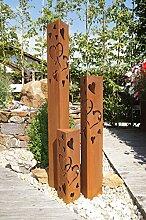 Säulenset Herz Säule Set Edelrost Rost Romantik Gartendeko Garten Edelstahl - Kugel