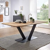 Säulentisch aus Wildeiche Massivholz Metall in