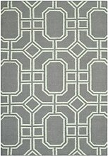 Safavieh Bellina Handgewebtes Flachgewebe Teppich, Wolle, Grau / Hellblau, 91 x 152 cm