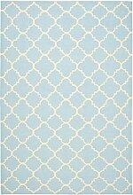 Safavieh Darien Handgewebtes Flachgewebe Teppich, Wolle, Hellblau / Elfenbein, 121 x 182 cm