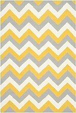 Safavieh Harlow Handgewebtes Flachgewebe Teppich, Wolle and Bananenseide, Gold / Grau, 152 x 243 cm