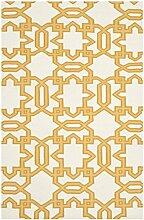 Safavieh Kata Handgewebtes Flachgewebe Teppich, Wolle, Elfenbein / Gelb, 152 x 243 cm