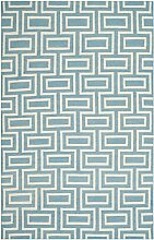 Safavieh Kinsley Handgewebtes Flachgewebe Teppich, Wolle, Hellblau / Elfenbein, 121 x 182 cm