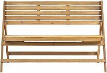 Safavieh Klappbank für den Garten, Holz, naturbraun, 59 x 121 x 80.01 cm