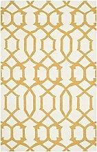 Safavieh Margo Handgewebtes Flachgewebe Teppich, Wolle, Elfenbein / Gelb, 152 x 243 cm