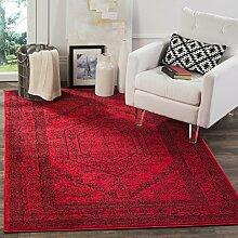 Safavieh Odessa gewebter Teppich, rot / schwarz,