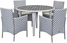 Safavieh Twin Sitzbank für den Garten, Rattan, grau / weiß, 115.06 x 115 x 74 cm