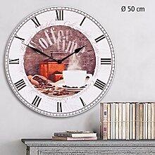 """SAFE 74103 Große Dekorative Wanduhr Kaffee - Caffee - Coffee Time To Go """" La Dolce Vita """" im mediterranen Landhausstil, mit römischen Ziffern, Durchmesser 50 cm"""