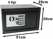 Safe mit Elektronik Zahlenschloß und Schlüssel Tresor Anti- Bouncing 6Kgs 31 x 20 x 20 cm
