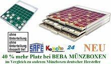 SAFE MÜNZBOXEN BEBA - MB6101G - OHNE FACHEINTEILUNG 280 x 282 x 9 mm 1 FACH GRATIS mit grünen Filzeinlagen - Ideal für große Anlagemünzen & Medaillen & Schmuck