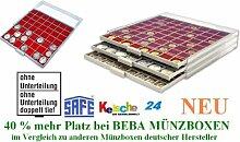 SAFE MÜNZBOXEN BEBA - MB6101R - OHNE FACHEINTEILUNG 280 x 282 x 9 mm 1 FACH GRATIS mit roten Filzeinlagen - Ideal für große Anlagemünzen & Medaillen & Schmuck