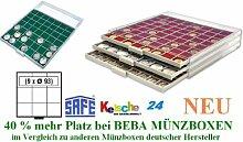 SAFE MÜNZBOXEN BEBA - MB6103G - 9 x 93 MM FÄCHER GRATIS mit grünen Filzeinlagen - für Münzen bis 93 mm und Münzkapseln bis Caps 87 mm - Ideal für große Anlagemünzen & Medaillen & US SLABS