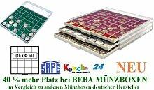 SAFE MÜNZBOXEN BEBA - MB6104G - 16 x 68 MM FÄCHER GRATIS mit grünen Filzeinlagen - für Münzen bis 68 mm und Münzkapseln bis Caps 62 mm & MÜNZRÄHMCHEN GROSS - Ideal für große Anlagemünzen & Münrähmchen 67x67mm