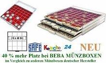 SAFE MÜNZBOXEN BEBA - MB6104R - 16 x 68 MM FÄCHER GRATIS mit roten Filzeinlagen - für MÜNZRÄHMCHEN GROSS 67 x 67 mm-