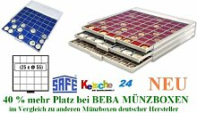 SAFE MÜNZBOXEN BEBA - MB6105B - 25 x 55 MM FÄCHER GRATIS mit blauen Filzeinlagen - für MÜNZRÄHMCHEN STANDARD -