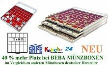 SAFE MÜNZBOXEN BEBA - MB6105R - 25 x 55 MM FÄCHER GRATIS mit roten Filzeinlagen - für Münzen bis 55 mm und Münzkapseln bis Caps 48 - 49 mm & MÜNZRÄHMCHEN STANDARD - Ideal für große Anlagemünzen & Münrähmchen