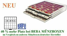 SAFE MÜNZBOXEN BEBA - MB6106 - 36 x 45,6 MM FÄCHER - für Münzen bis 45,6 mm und Münzkapseln bis Caps 38 - 39 mm - Ideal Wiener Philharmoniker & Meaple Leaf IN CAPS & US EAGLE DOLLAR