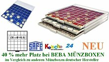 SAFE MÜNZBOXEN BEBA - MB6106B - 36 x 45,6 MM FÄCHER GRATIS mit blauen Filzeinlagen - für Münzen bis 45,6 mm und Münzkapseln bis Caps 38 - 39 mm - Ideal Wiener Philharmoniker & Meaple Leaf IN CAPS & US EAGLE DOLLAR