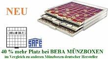 SAFE MÜNZBOXEN BEBA - MB6107 - 49 x 38,7 MM FÄCHER Filzeinlagen - für Münzen bis 38,7 mm und Münzkapseln bis Caps 32,5 mm - Ideal 5 - 10 EURO / DM / MARK DDR IN CAPS & Wiener Philharmoniker & Meaple Leaf
