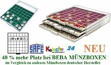 SAFE MÜNZBOXEN BEBA - MB6107G - 49 x 38,7 MM FÄCHER GRATIS mit grünen Filzeinlagen - für Münzen bis 38,7 mm und Münzkapseln bis Caps 32,5 mm - Ideal 5 - 10 EURO / DM / MARK DDR IN CAPS & Wiener Philharmoniker & Meaple Leaf