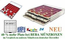 SAFE MÜNZBOXEN BEBA - MB6107R - 49 x 38,7 MM FÄCHER GRATIS mit roten Filzeinlagen - für Münzen bis 38,7 mm und Münzkapseln bis Caps 32,5 mm - Ideal 5 - 10 EURO / DM / MARK DDR IN CAPS & Wiener Philharmoniker & Meaple Leaf